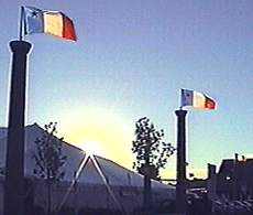 Acadian Flags Fly High at sunset